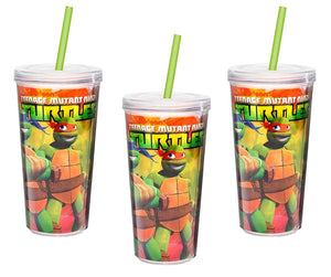 [3-Pack] Teenage Mutant Ninja Turtles 16oz Double-Wall Tumbler Cup with Straw