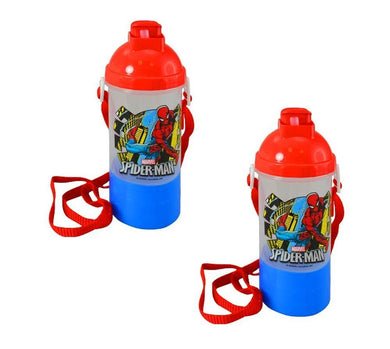 2-Pack Spider-Man Rock N Sip N Snack Canteen 15oz Water Bottle w/ Straw & Carry Strap