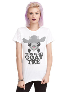 "Hot Topic ""This Is My Goat Tee"" Junior's T-Shirt, White"