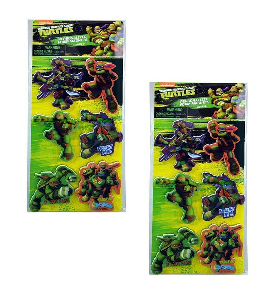 Teenage Mutant Ninja Turtles 3-inch Foam Magnets, 2-Pack of 6ct (12 Total)