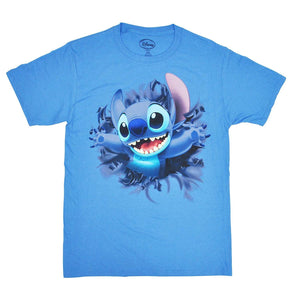 Disney's Stitch 2-Sided Front & Back Adult's T-Shirt, Columbia Blue