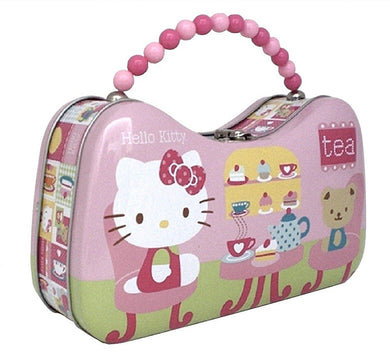 Hello Kitty Tin Metal Handbag Purse Snack Box, Teddy Bear Tea Party (Pink)
