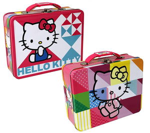 [2-Pack Set] Hello Kitty Patchwork Carry-All Tin Box/Small Lunch Box 7.5 x 6 x 2.75""