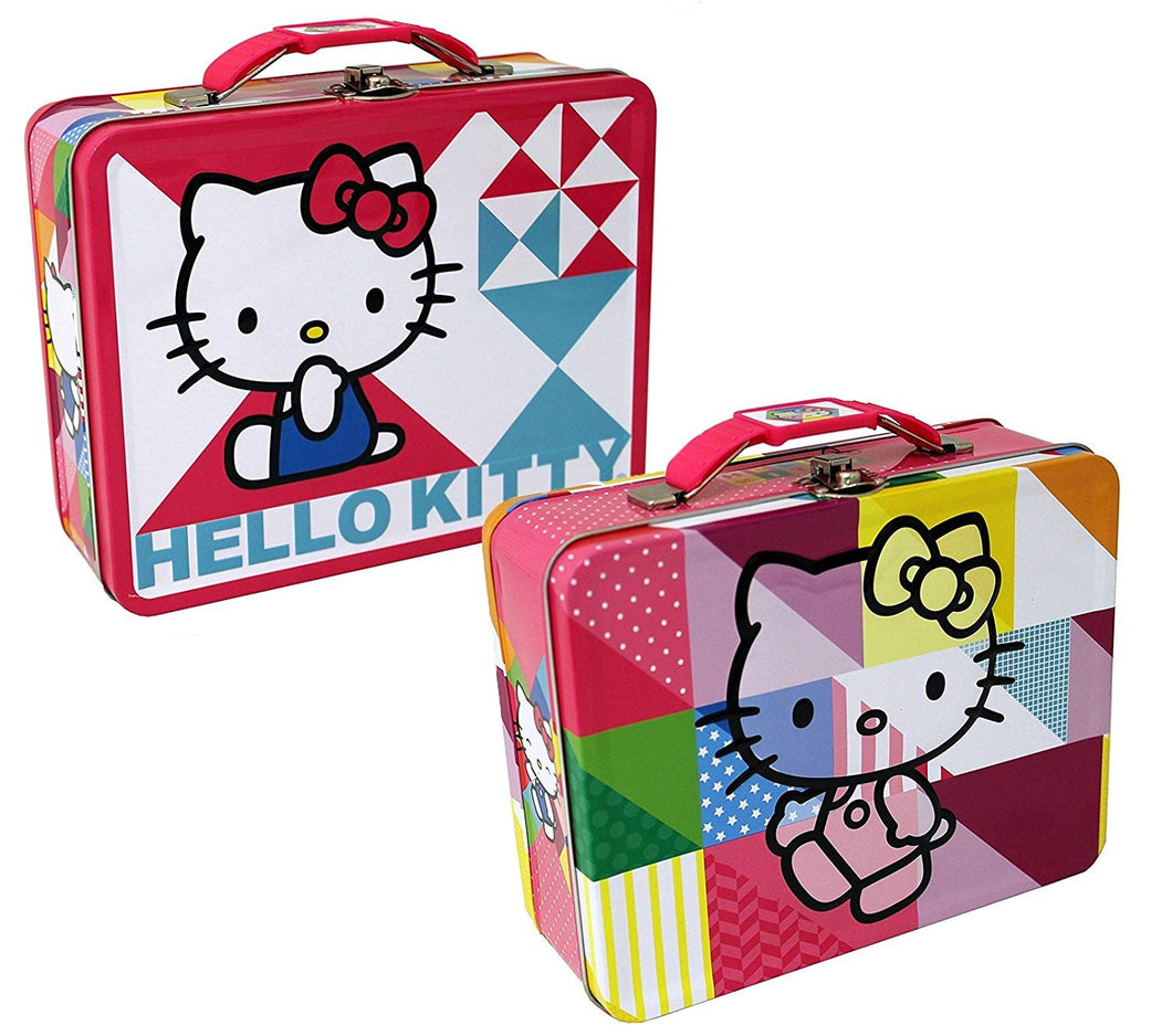 [2-Pack Set] Hello Kitty Patchwork Carry-All Tin Box/Small Lunch Box 7.5 x 6 x 2.75