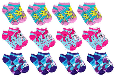 12-Pairs My Little Pony Little Girl Ankle Socks, Shoe Size 7-10, Sock Size 4-6