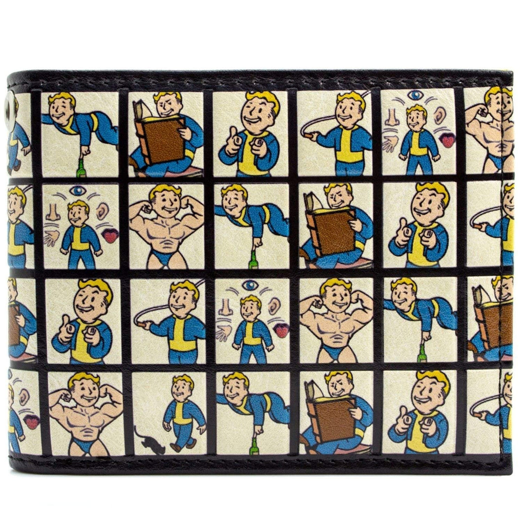 Fallout 4 Vault Boy Perk System Grid Embossed Bi-fold Faux PU Leather Wallet