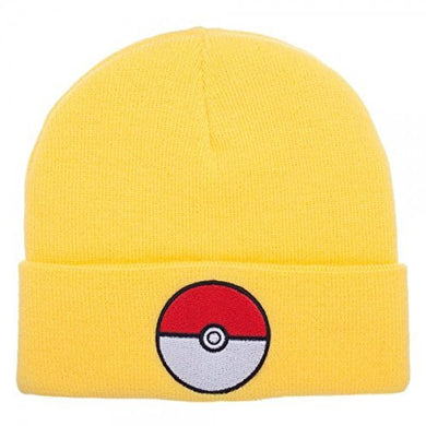 Bioworld Pokemon Pokeball Yellow Cuff Knit Beanie Winter Hat