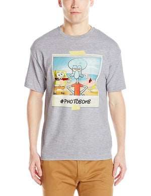 Nickelodeon Men's Spongebob #Photobomb T-Shirt, Heather Grey,