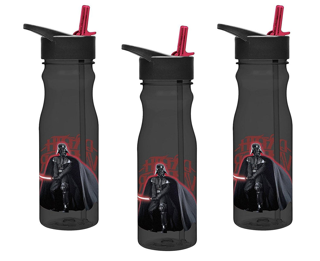 3-Pack Star Wars Darth Vader 25oz Tritan Water Bottle with Flip-Up Spout and Straw, BPA-free