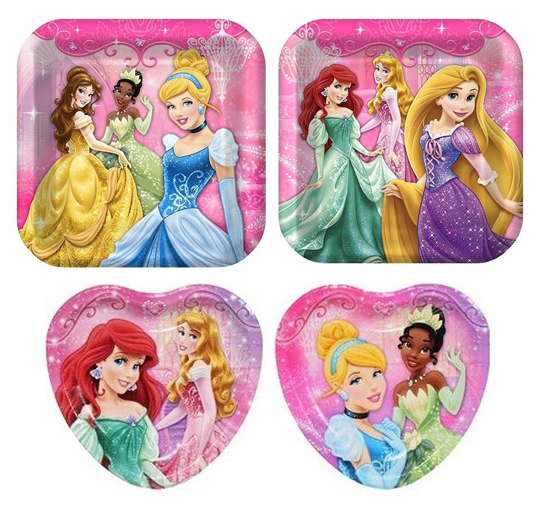 32 Pc Disney Princess Birthday Party Plate Bundle - 16 Dinner and 16 Dessert Plates