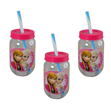 3-Pack Disney's Frozen Canning Jar Tumbler Cups with Screw-on Lid and Straw, BPA-Free Plastic, 19 oz.
