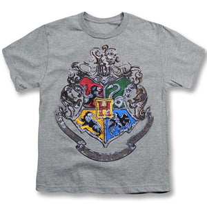 Harry Potter Youth Unisex T-Shirt Distressed Hogwarts Crest, Gray