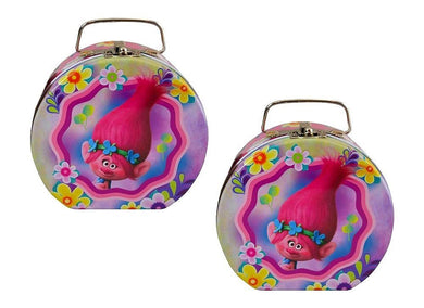 2-Pack Dreamworks Trolls Semi-Round 5-inch Tin Flower Hat Box with Handle