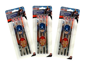 Marvel Avengers (12) Pencils and (6) Eraser Set, Captain America & Iron Man