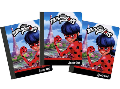 [3-Pack Set] Miraculous Ladybug 50-Sheet 7.5x9.75 Wide-Ruled Composition Notebook