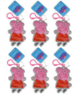 "Peppa Pig 4"" PVC Zipper Pull, Silver Glitter, 6-Pack Party Favor Set"