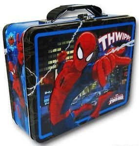 Marvel Spider-Man THWIPP! 3-D Embossed (Blue) Tin Carry All, Metal Lunch Box