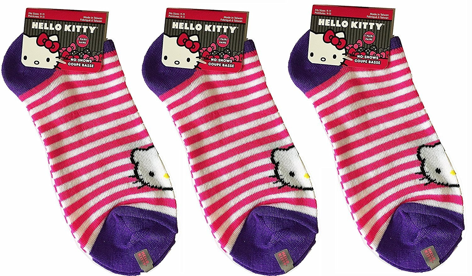 ed99b6407 [3-Pack] Sanrio Hello Kitty No-Shows Striped Ankle Sock, Sock Size 9-11 (Women's  Shoe Sz 5-10)