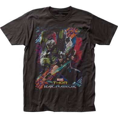 Marvel Comics Thor Ragnarok Battle Mens Adult Fitted Jersey T-Shirt Tee, Black