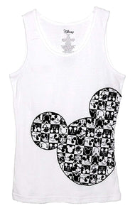 Disney Classic Mickey Mouse Junior Women Pajama T Shirt Tank Top - Checker Silhouette