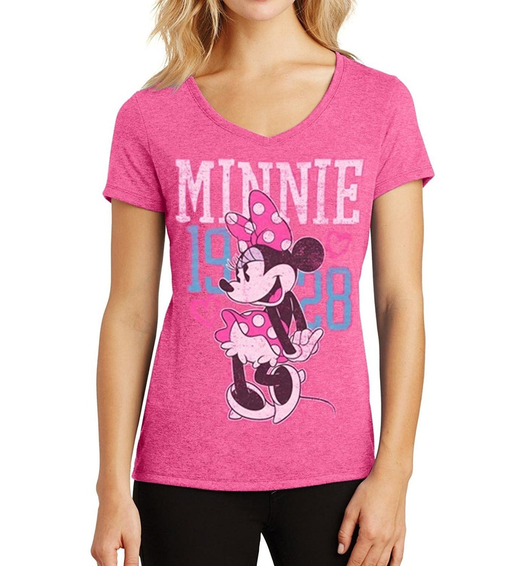 Disney Minnie Mouse 1928 Junior Womens Fashion T Shirt Heather Fushcia Tee