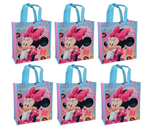 Disney Minnie Mouse Reusable 12-inch Tote Bags, 6-Pack Party Set