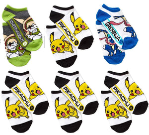 6 Pairs Pack Pokemon No-Show Anklet Socks, Sock Size 9-11, Pikachu