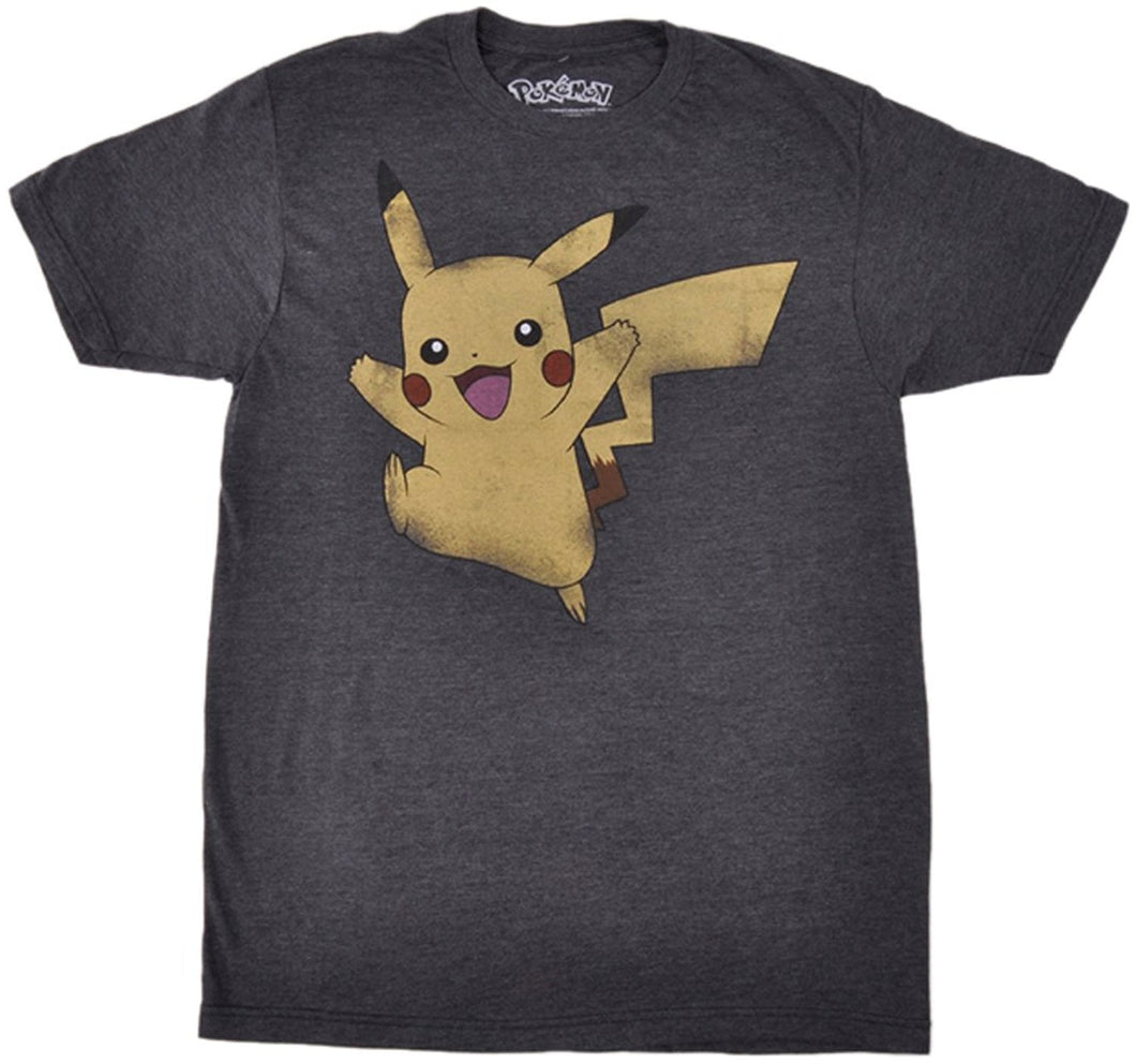 Pokemon Distressed Pikachu Jumping Men's T-Shirt, Charcoal Gray