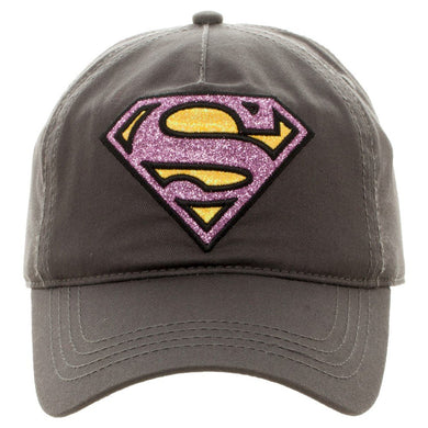 Superman Supergirl Pink Glitter Logo Youth Girls Baseball Snapback Ball Cap Hat