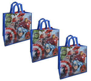[3-Pack] Marvel Avengers Large 15.5-inch Reusable Shopping Tote or Gift Bag (Thor, Captain America, Hulk, Iron Man)