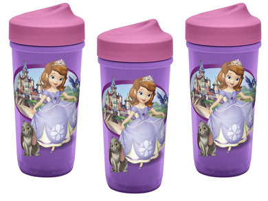 [3-Pack] Sofia The First 9oz Toddler Perfect Flo Sippy Cup with Adjustable Flow