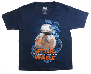 Star Wars The Force Awakens BB-8 Droid Youth/Boys Navy Blue T-Shirt Kids Tee NWT