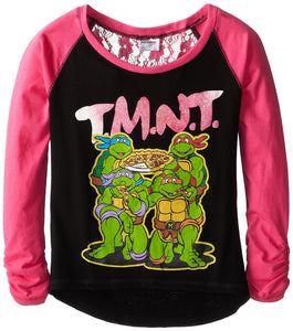 Teenage Mutant Ninja Turtles Girls' Long Sleeve Lace-Back T-Shirt, Black/Pink