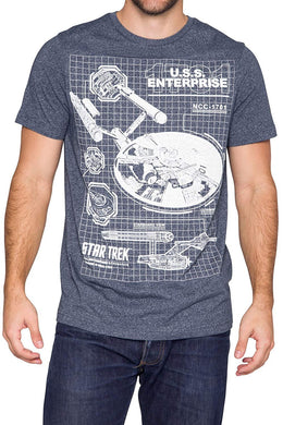 Star Trek USS Enterprise Diagram Blueprint Schematic Graphic T-Shirt, Navy Heather