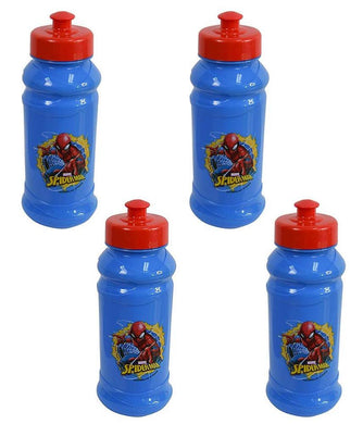 [4-Pack] Marvel's Spider-Man Kids 16oz Pull-Top Water Bottles, Blue/Red, BPA-Free