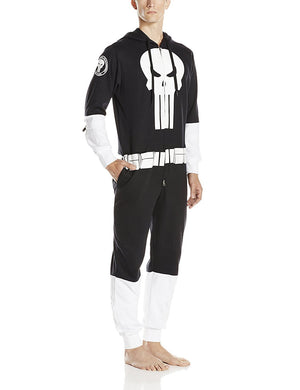 Marvel The Punisher Men's One-Piece Jumpsuit Hoodie Sweatshirt Cosplay PJs