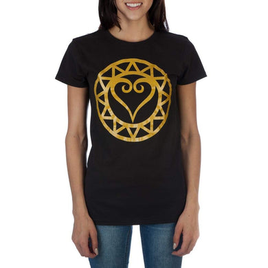 Disney Kingdom Hearts Metallic Gold Logo Juniors Black T-Shirt