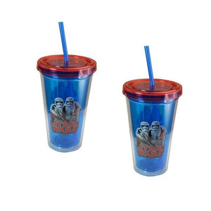 2-Pack Star Wars Stormtroopers 16.5 oz Double Wall Tumblers with Lids and Straws