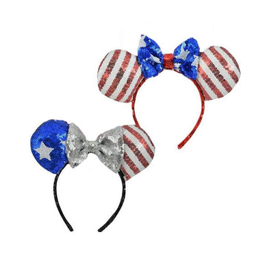 [2-Pack] Disney Minnie Mouse Sequin American Flag Patriotic Ears & Bow Headbands