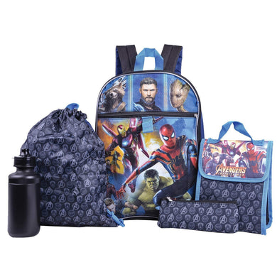 Marvel Avengers 5pc Backpack, Lunch Bag, Cinch Sack, Water Bottle, Zip Pouch Set
