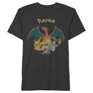 Charizard, Pikachu, Squirtle, Meowth Pokemon Mens Tee Shirt, Dark Charcoal