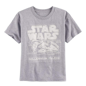 Star Wars Millennium Falcon Schematic Youth/Boys T-Shirt, Heather Gray