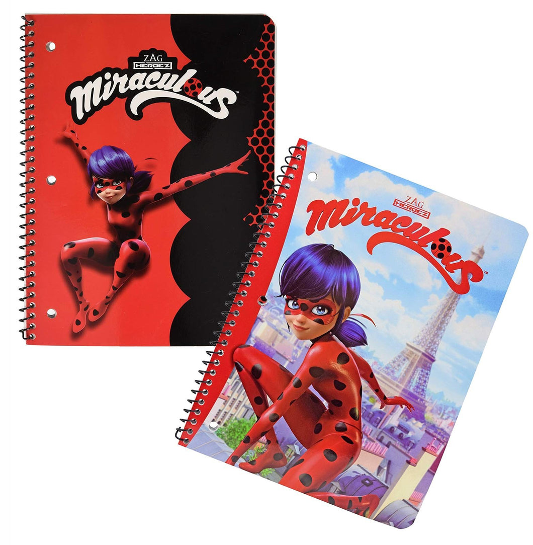 2-Pack Miraculous Ladybug 50-Sheet Single Subject Theme Book Spiral Notebooks