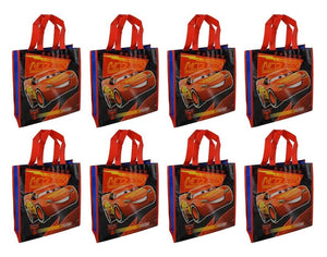 "8-Pack Disney-Pixar Cars Lightning McQueen Reusable 10"" Tote Bags - Great for Party Favors!"