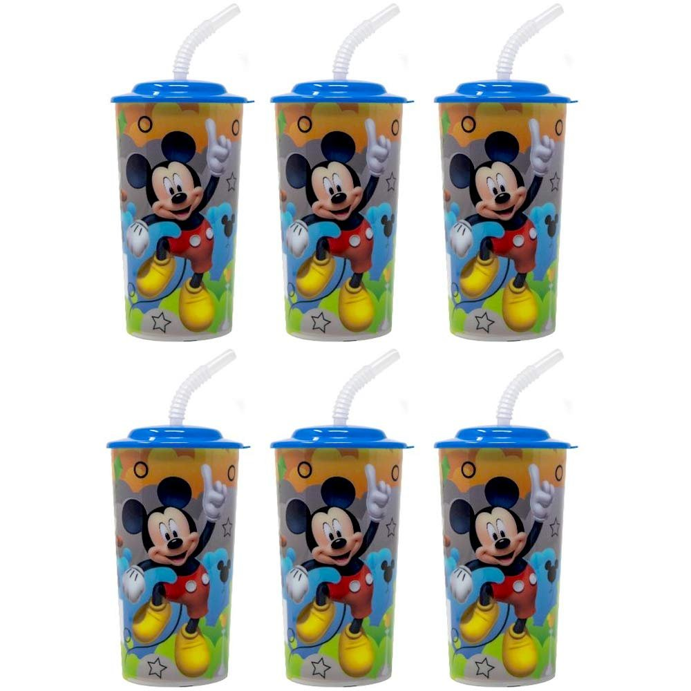 6-Pack Disney Mickey Mouse 16oz Reusable Sports Tumbler Cups with Lids & Straws
