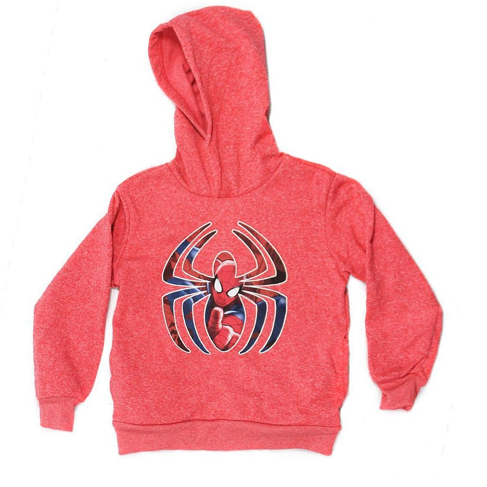 Marvel Spider-Man Youth Boys' Pullover Fleece Hoodie Pockets, Red Heather