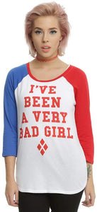 DC Comics Suicide Squad Harley Quinn Bad Girl Junior's Raglan T-Shirt, Red, White, Blue