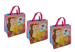 "3-Pack Disney's Beauty and the Beast Princess Belle Large 15.5"" Reusable Shopping Tote or Gift Bag"