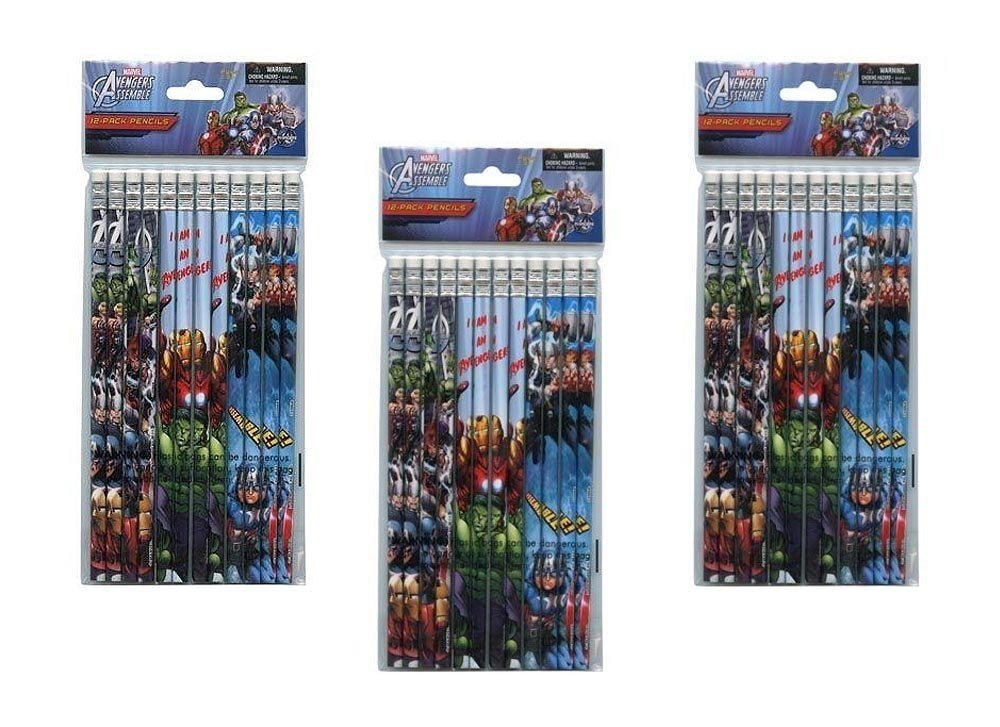 3-Pack Marvel Avengers 12-count #2 Wood Pencils (36 Total)