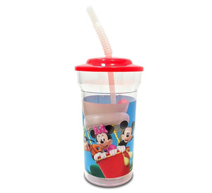 4-Pack Disney Mickey Mouse and Friends 16oz Sports Tumbler Cups with Lids & Straws